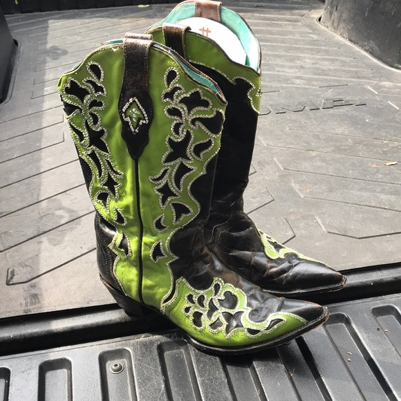60bfbe10e26 Corral Shoes | Swarovski Black And Green Cowboy Boots 12 | Poshmark